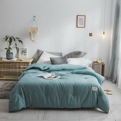 2018新款灰边条全棉水洗棉系列冬被 220*240 8.5斤 立体松石绿