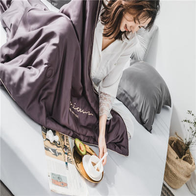 2019新款60S兰精天丝素色绣花夏被 200X230cm 典雅紫
