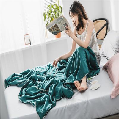 2019新款60S兰精天丝素色绣花夏被 200X230cm 琥珀绿