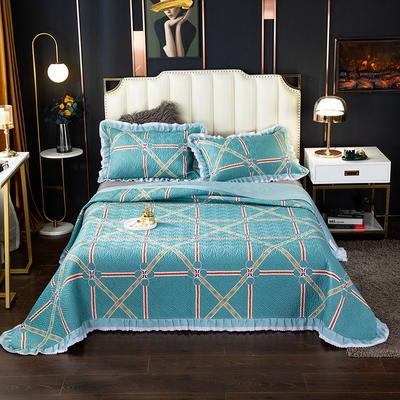 2020新款13372绗缝印花床盖三件套 150cmx230cm床盖三件套 北欧之约-绿
