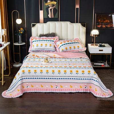 2020新款13372绗缝印花床盖三件套 150cmx230cm床盖三件套 波西米亚-粉