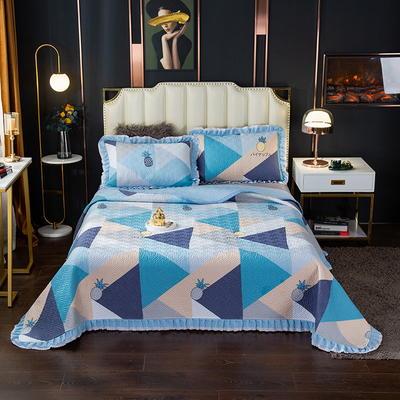 2020新款13372绗缝印花床盖三件套 150cmx230cm床盖三件套 菠萝多多