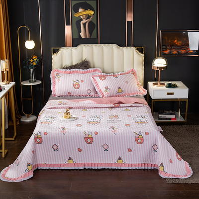 2020新款13372绗缝印花床盖三件套 150cmx230cm床盖三件套 畅游花海