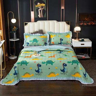 2020新款13372绗缝印花床盖三件套 150cmx230cm床盖三件套 恐龙世界-绿