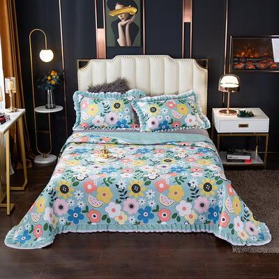 2020新款13372绗缝印花床盖三件套 150cmx230cm床盖三件套 梦入花田-绿
