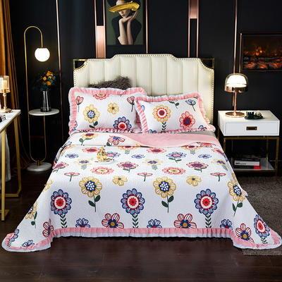 2020新款13372绗缝印花床盖三件套 150cmx230cm床盖三件套 太阳花-黄