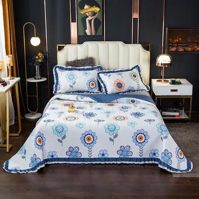 2020新款13372绗缝印花床盖三件套 150cmx230cm床盖三件套 太阳花-蓝