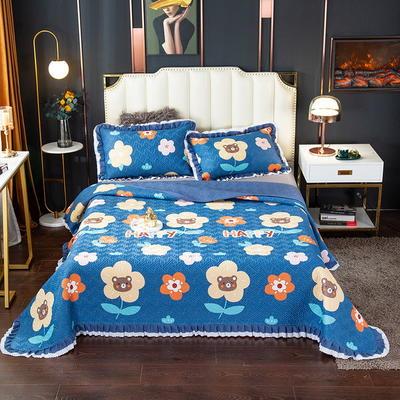 2020新款13372绗缝印花床盖三件套 150cmx230cm床盖三件套 五月天-兰