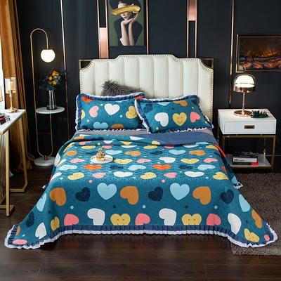 2020新款13372绗缝印花床盖三件套 150cmx230cm床盖三件套 心相恋-兰