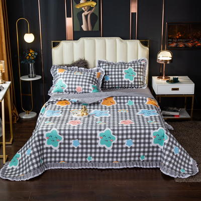 2020新款13372绗缝印花床盖三件套 150cmx230cm床盖三件套 星梦想