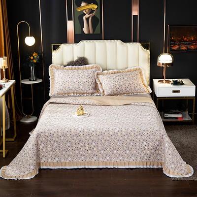 2020新款13372绗缝印花床盖三件套 150cmx230cm床盖三件套 星星点点-咖