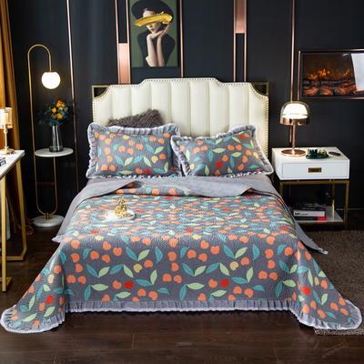 2020新款13372绗缝印花床盖三件套 150cmx230cm床盖三件套 樱桃之恋