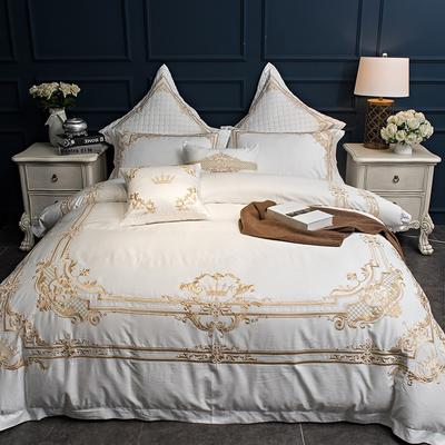 60S长绒棉欧式系列2 35*50cm腰枕一个 Louvre罗浮宫-白