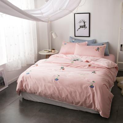 60S长绒棉小清新刺绣系列 标准(1.5-1.8m)床 彼得兔(粉)