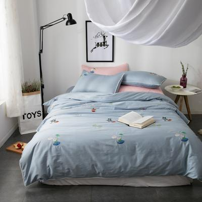 60S长绒棉小清新刺绣系列 标准(1.5-1.8m)床 彼得兔(蓝)