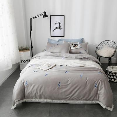 60S长绒棉小清新刺绣系列 标准(1.5-1.8m)床 羽-灰色