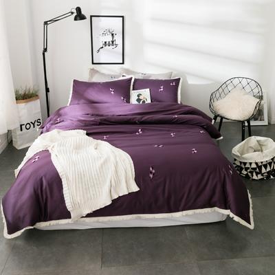 60S长绒棉小清新刺绣系列 标准(1.5-1.8m)床 羽-紫色