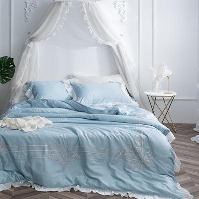 60兰精天丝系列四件套-黛茜-天空蓝 标准1.5m-1.8m床 黛茜-天空蓝