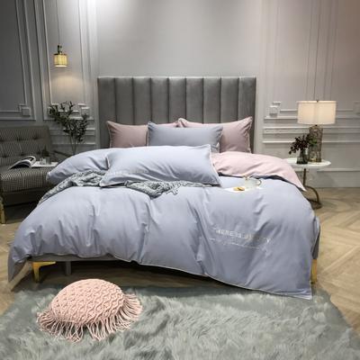 2018新款梦Draem(60S磨毛)双股长绒棉四件套 枕套/对 薄雾蓝