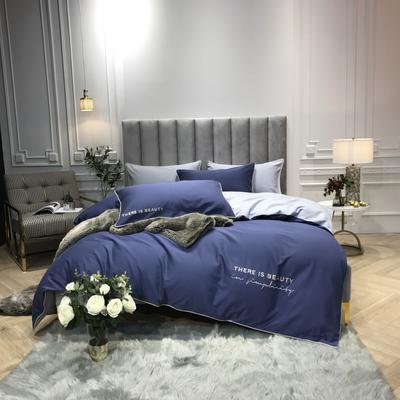 2018新款梦Draem(60S磨毛)双股长绒棉四件套 枕套/对 星空蓝