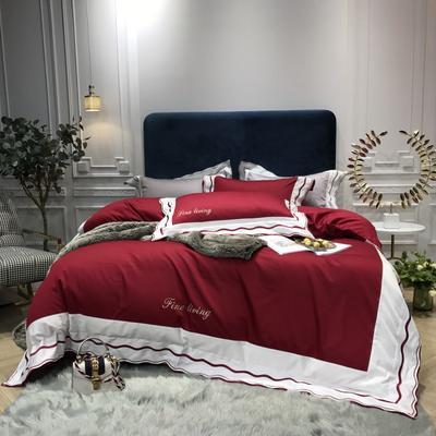 2018新款雅Grace(60S长绒棉)双股贡缎四件套 枕套/对 玛雅红