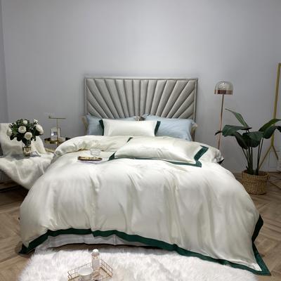 2019新款60支兰精天丝刺绣四件套-套图一 1.8m(6英尺)床 珍珠白