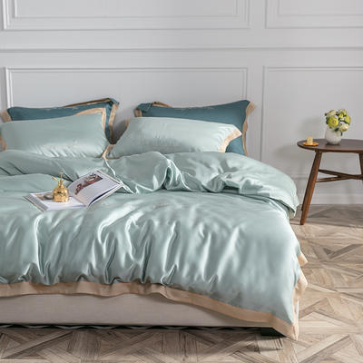 2019新款60支兰精天丝刺绣四件套-套图二 1.8m(6英尺)床 灰绿