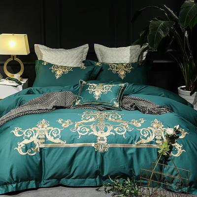【Salor赛罗】--祖母绿-60S大版特种毛巾绣刺绣卡通小清新淑女公主风 欧式美式全棉四件套多件套 1.8m(6英尺)床 赛罗-祖母绿-四件套