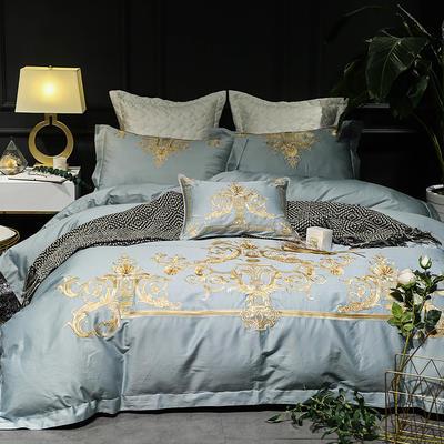【Salor赛罗】-沙漠蓝-60S大版特种毛巾绣刺绣卡通小清新淑女公主风 欧式美式全棉四件套多件套 1.8m(6英尺)床 赛罗-沙漠蓝-四件套