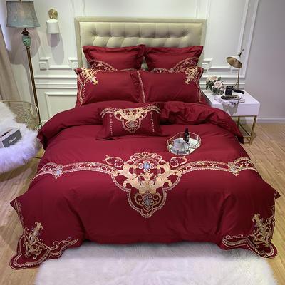 提取码:c3kx【蒂凡-- 波红】60S大版特种刺绣小清新淑女公主风 欧式美式全棉四件套多件套 1.8m(6英尺)床 蒂凡-波红-四件套