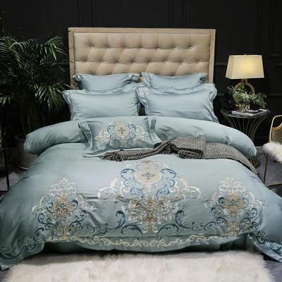 提取码:hw9c【布鲁塞尔-蓝】60S大版特种刺绣小清新淑女公主风 欧式美式全棉四件套多件套 1.8m(6英尺)床 布鲁塞尔-蓝-四件套