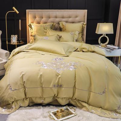 提取码:yvyf【梵妮--气质黄】60S大版特种刺绣小清新淑女公主风 欧式美式全棉四件套多件套 1.8m(6英尺)床 梵妮--四件套