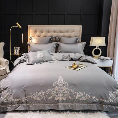 【纳尔森--灰】60S大版特种刺绣小清新淑女公主风 欧式美式全棉四件套多件套 1.8m(6英尺)床 纳尔森-灰-四件套