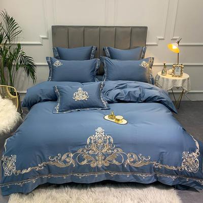 【纳尔森--蓝】60S大版特种刺绣小清新淑女公主风 欧式美式全棉四件套多件套 1.8m(6英尺)床 纳尔森-蓝-四件套