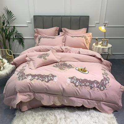 【艾丽--粉】60S双股磨毛两色贴布刺绣 欧式美式花卉全棉秋冬加厚磨毛简约款床单四件套多件套 1.8m(6英尺)床 艾丽-粉-四件套