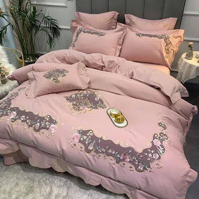 【艾丽--粉】60S双股磨毛两色贴布刺绣 欧式美式花卉全棉秋冬加厚磨毛简约款床单四件套多件套 1.8m(6英尺)床 艾丽-粉-五件套