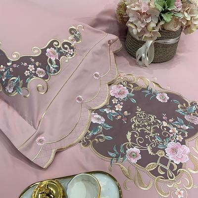 【艾丽--粉】60S双股磨毛两色贴布刺绣 欧式美式花卉全棉秋冬加厚磨毛简约款床单四件套多件套 1.8m(6英尺)床 艾丽-粉-七件套