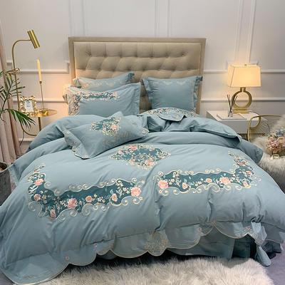 【艾丽--蓝】60S双股磨毛两色贴布刺绣 欧式美式花卉全棉秋冬加厚磨毛简约款床单四件套多件套 1.8m(6英尺)床 艾丽-蓝-四件套