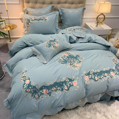 【艾丽--蓝】60S双股磨毛两色贴布刺绣 欧式美式花卉全棉秋冬加厚磨毛简约款床单四件套多件套 1.8m(6英尺)床 艾丽-蓝-五件套
