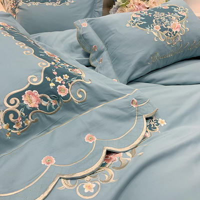 【艾丽--蓝】60S双股磨毛两色贴布刺绣 欧式美式花卉全棉秋冬加厚磨毛简约款床单四件套多件套 1.8m(6英尺)床 艾丽-蓝-六件套