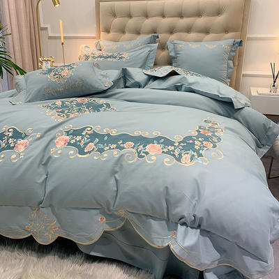 【艾丽--蓝】60S双股磨毛两色贴布刺绣 欧式美式花卉全棉秋冬加厚磨毛简约款床单四件套多件套 1.8m(6英尺)床 艾丽-蓝-七件套