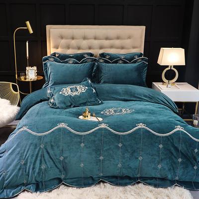 【戛纳--5色宝宝绒】新款秋冬加厚宝宝绒,极地绒、法兰绒、加厚绒类精品刺绣,宝宝绒刺绣四件套,多件套 1.5m(5英尺)床 戛纳-宝宝绒-深蓝-五件套