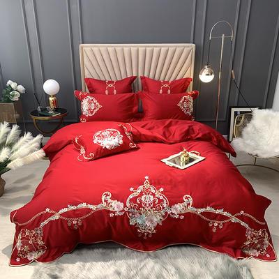 【西雅图--正红】60S大版特种刺绣小清新淑女公主风 西式婚庆 欧式美式全棉四件套多件套 1.5m(5英尺)床 西雅图-正红-五件套