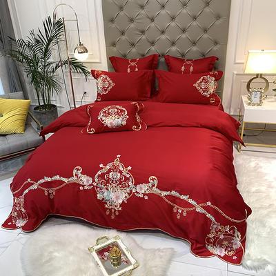 【西雅图--正红】60S大版特种刺绣小清新淑女公主风 西式婚庆 欧式美式全棉四件套多件套 1.5m(5英尺)床 西雅图-正红-七件套