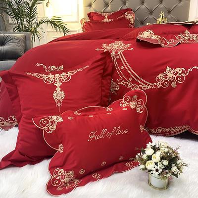 提取码:9j4h【雅典娜-正红】60S大版婚庆刺绣淑女公主风 西式婚庆 欧式美式全棉四件套多件套 1.8m(6英尺)床 雅典娜-正红-五件套