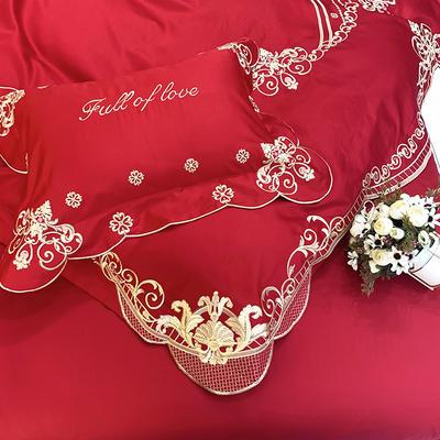 提取码:9j4h【雅典娜-正红】60S大版婚庆刺绣淑女公主风 西式婚庆 欧式美式全棉四件套多件套 1.8m(6英尺)床 雅典娜-正红-六件套