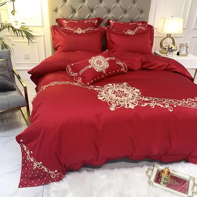 提取码:mj3u【安吉拉-正红】60S大版婚庆刺绣淑女公主风 西式婚庆 欧式美式全棉四件套多件套 1.8m(6英尺)床 安吉拉-正红-五件套