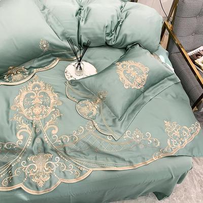 提取码:yuwz【赫蒂】兰精80S纯天丝美式花卉刺绣清新淑女公主 欧式美式全棉四件套多件套 1.5m(5英尺)床 赫蒂-青石绿-六件套