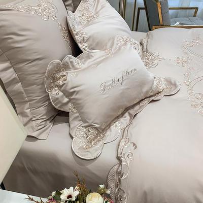 提取码:9j4h【雅典娜-奶茶色】60S大版婚庆刺绣淑女公主风 西式婚庆 欧式美式全棉四件套多件套 1.5m(5英尺)床 雅典娜-奶茶色-六件套