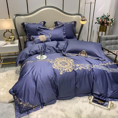 提取码:mj3u【安吉拉-摩登蓝】60S大版婚庆刺绣淑女公主风 西式婚庆 欧式美式全棉四件套多件套 1.5m(5英尺)床 安吉拉-摩登蓝-四件套